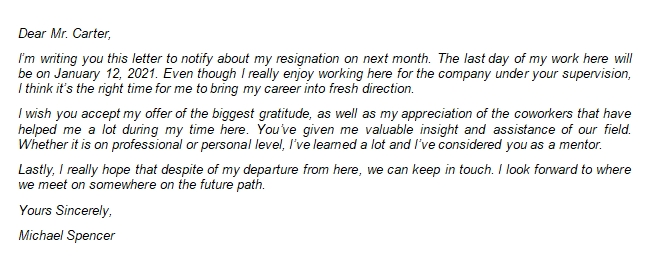 107 Appreciative Resignation Letter