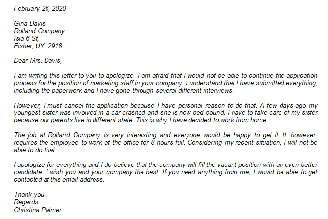 Withdraw Application Letter You Need to Write to Cancel a Job Application