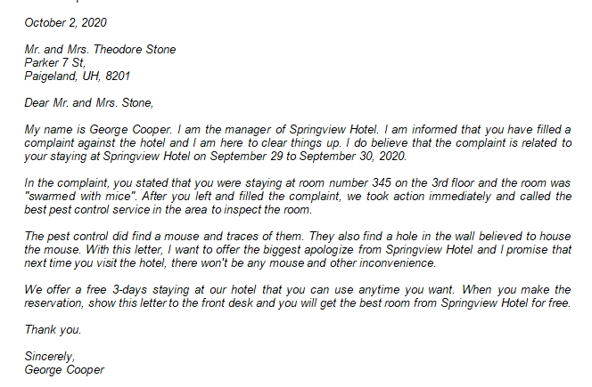 110 Hotel Apology Letter to Guest
