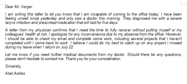 Important Items to be Included in Sick Leave Letter