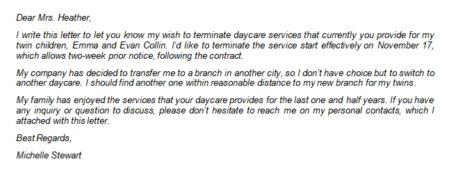 116 Daycare Termination Letter