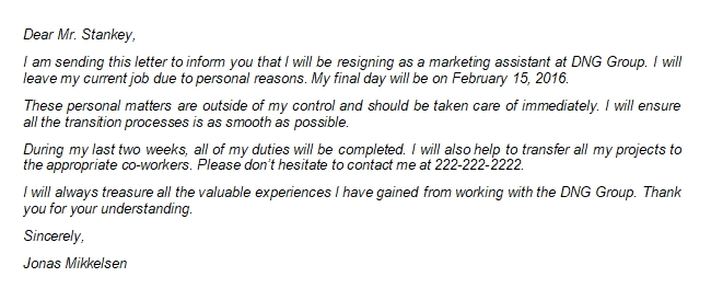 Writing a Resignation Letter Due to Personal Reasons