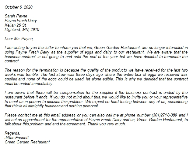 Knowing the Business Contract Termination Letter