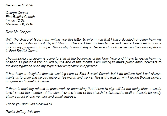 Note These Things when Writing Pastor Resignation Letter