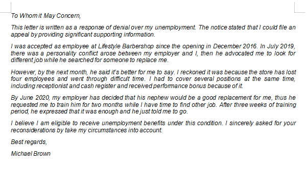 Unemployment Appeal Letter Writing Tips and Example