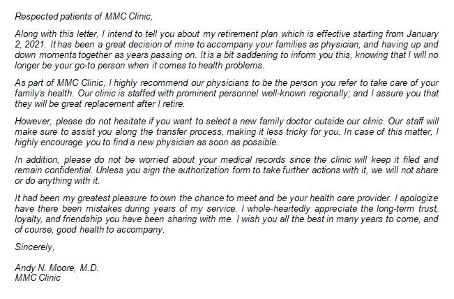 Writing a Physician Retirement Letter Easily
