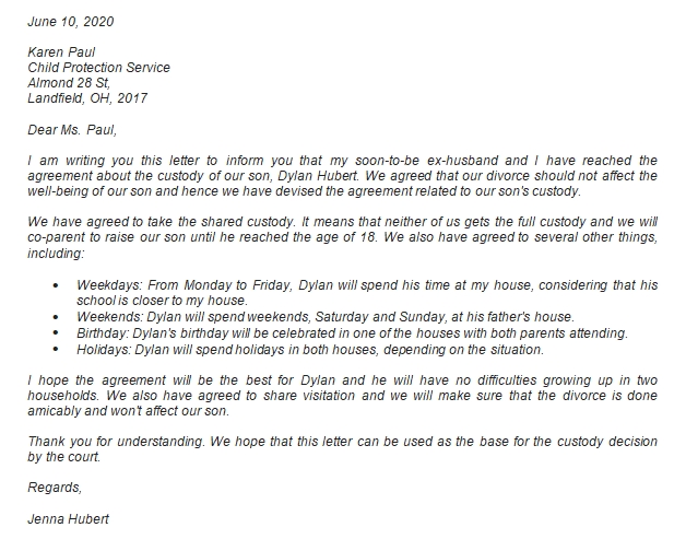 Common Child Custody Agreement Letter with Example
