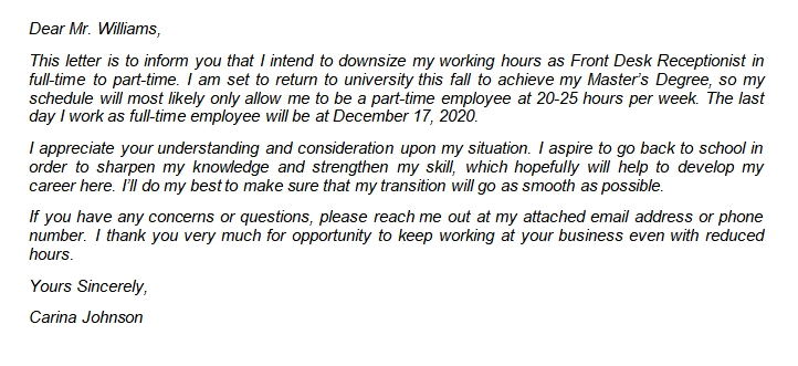 Writing Resignation Letter from Fulltime to Part Time