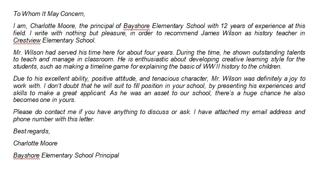 Elementary Teacher Recommendation Letter Writing Guide and Sample