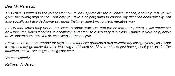 Teacher Appreciation Letter from Student Writing Rule and Sample