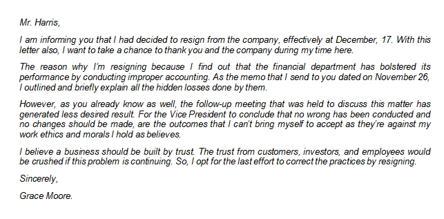 Resignation Letter Due to Unsatisfactory Work Circumstances Sample
