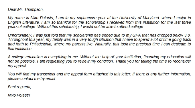 How to Write a Scholarship Appeal Letter with Sample
