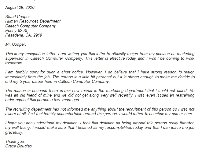Effective Today Resignation Letter Content, Example and More