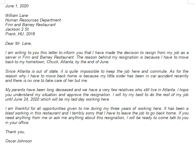 How to Write Resignation Letter Due to Relocation Properly?