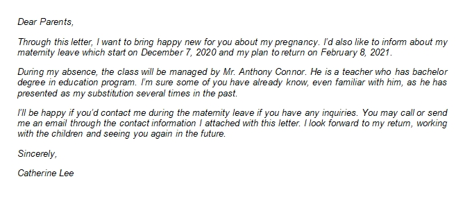 The Proper Maternity Leave Letter to Parents