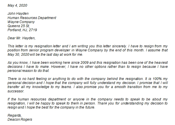 How to Properly Write the Sincere Resignation Letter?