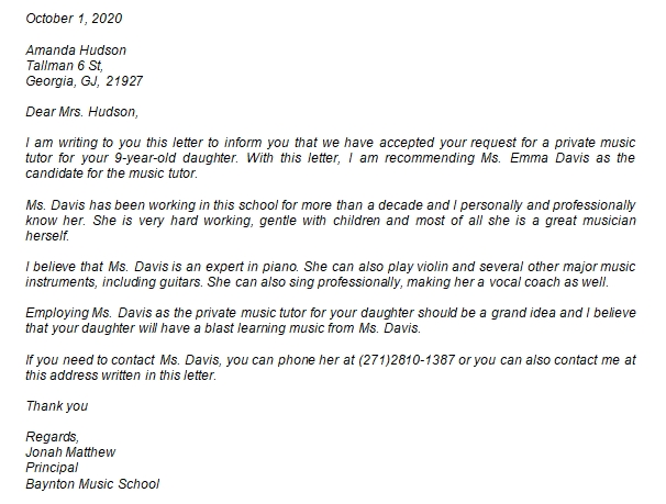 Teacher Recommendation Letter Example and the Needed Information