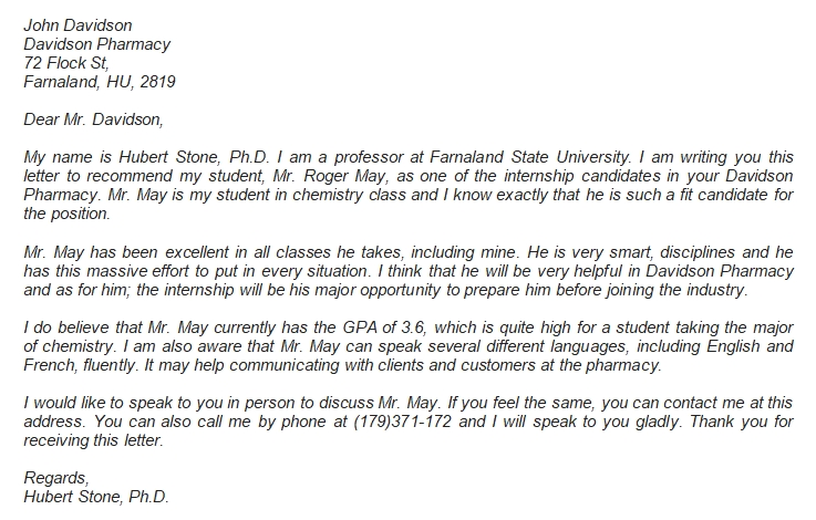 The Internship Letter of Recommendation Details and Example