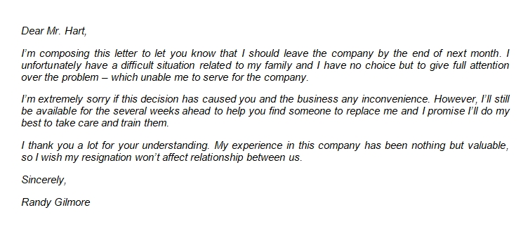 How to Write Resignation Letter Due to Family Reasons