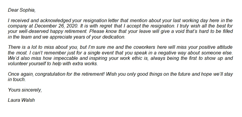 Sample of a Good Retirement Letter of Appreciation