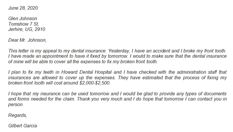 Dental Insurance Appeal Letter Information and Example