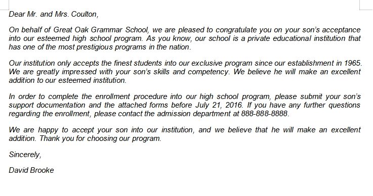 The Main Aspects to Include in School Acceptance Letter
