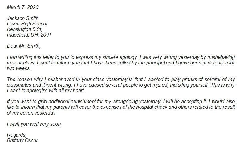 Best Example of Apology Letter to Teacher