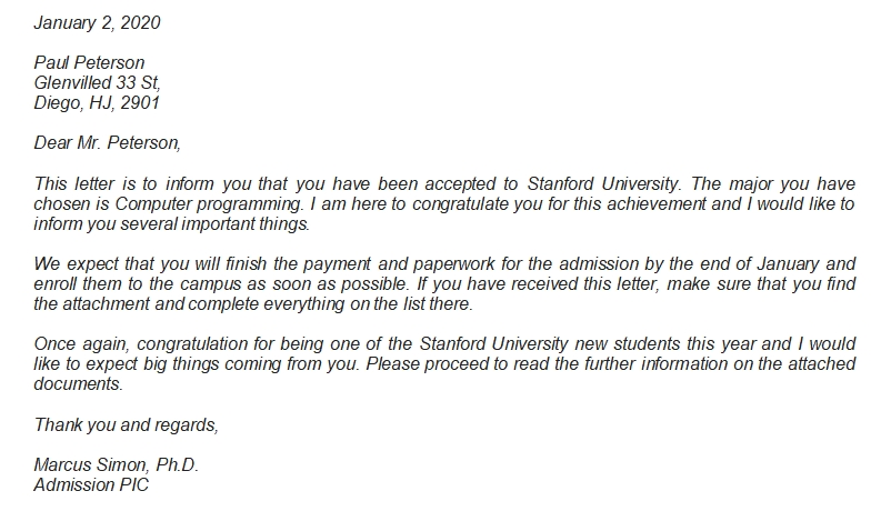 Stanford Acceptance Letter and Other Information about it
