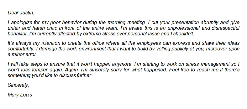 How to Write Good Apology Letter to Coworker with Sample