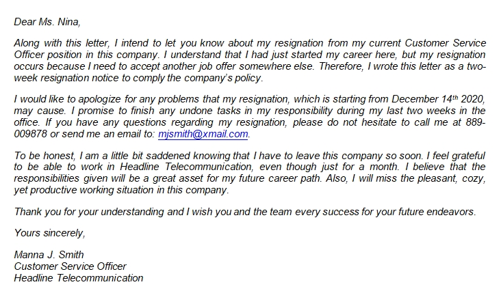 What to Say in Resignation Letter for a Job You Just Started?