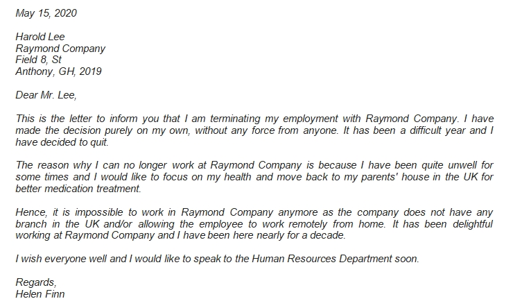 Termination Letter to Employer Example and Important Information You Need