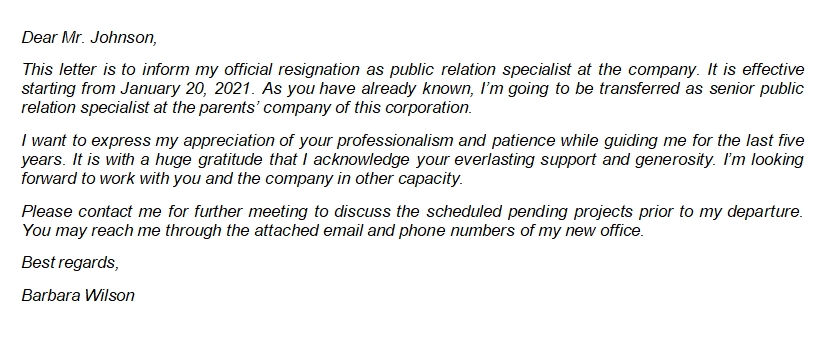 17 Resignation Letter for Transfer within the Same Company