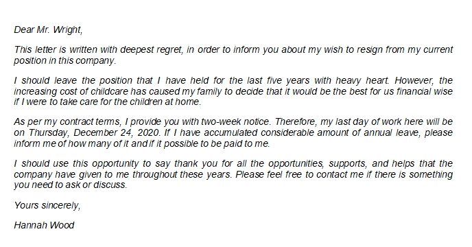 Professional Resignation Letter with Regret Writing Guide