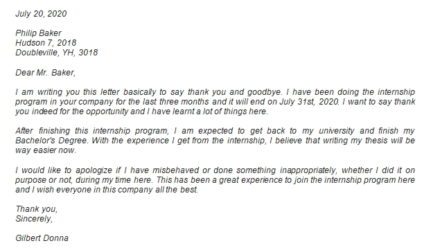 End of Internship Letter Example and Information You Can Use