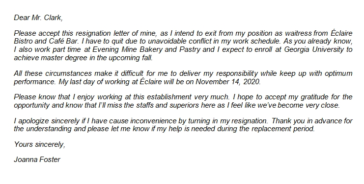 Aspects to Note in Resignation Letter Due to Schedule Conflict