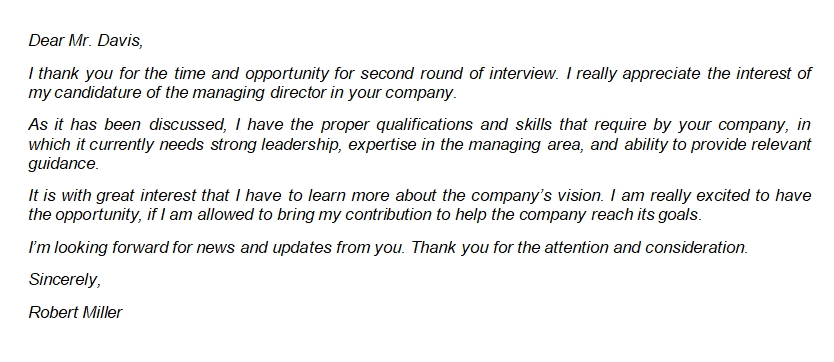 19 Second Interview Letter