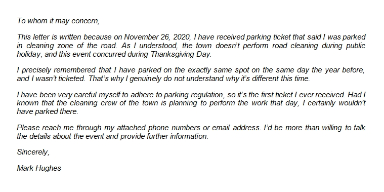 The Effective Parking Ticket Appeal Letter