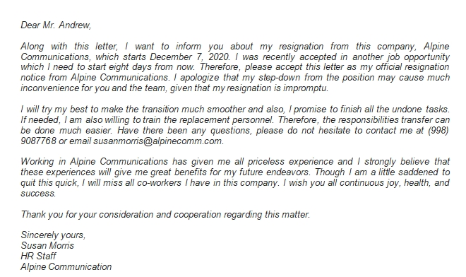Format of One Week Notice Resignation Letter