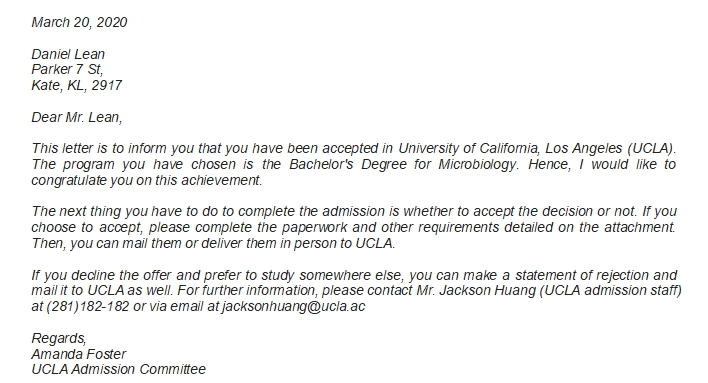 UCLA Acceptance Letter Example and Information Related to the Letter