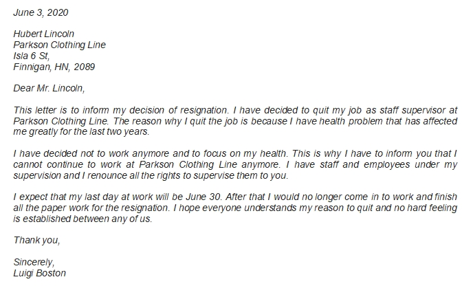 Example of Employer Resignation Letter and Other Information