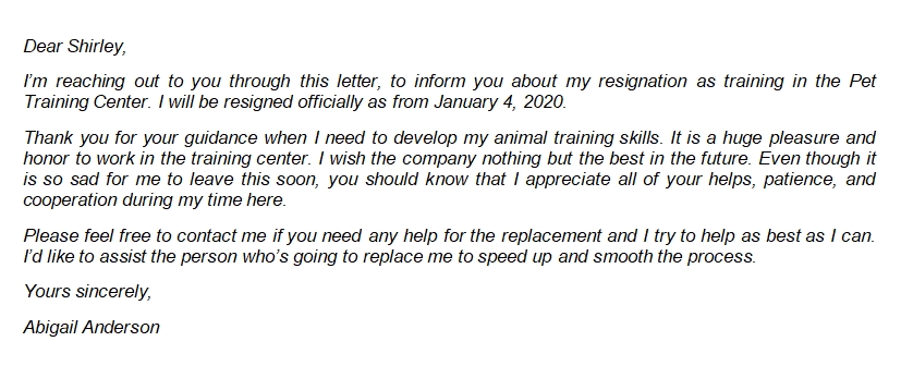 20 Friendly Resignation Letter