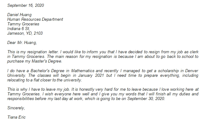 Writing the Going Back to School Resignation Letter