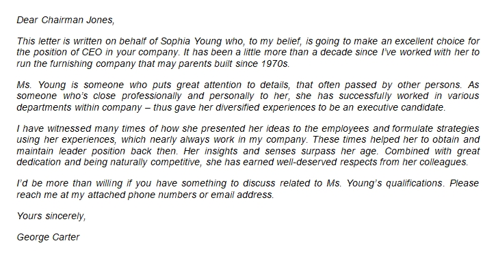 The CEO Recommendation Letter with Example