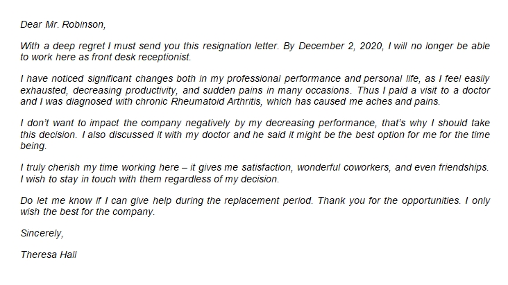 Guide to Write Resignation Letter Due to Health Problem with Sample