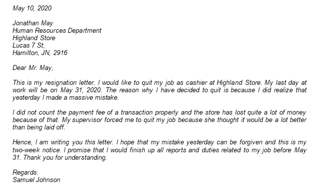 221 Forced Resignation Letter