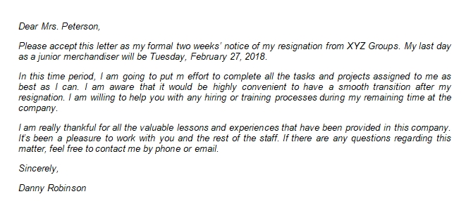221 Two Weeks Notice Resignation Letter