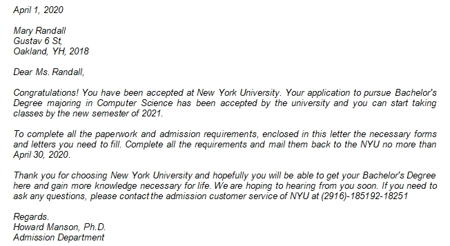 Get the Example of NYU Acceptance Letter