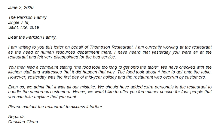 224 Apology Letter for Bad Service