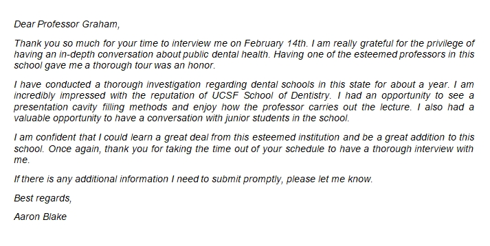 Writing the Perfect Dental School Interview Thank You Letter