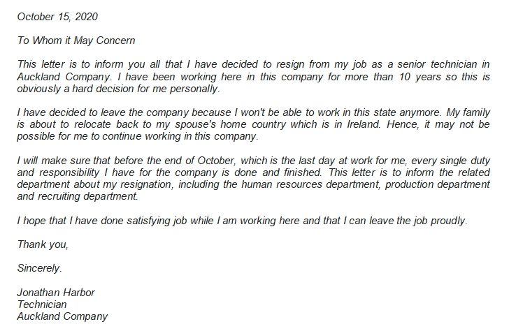 3 Resignation Letter to Whom It May Concern